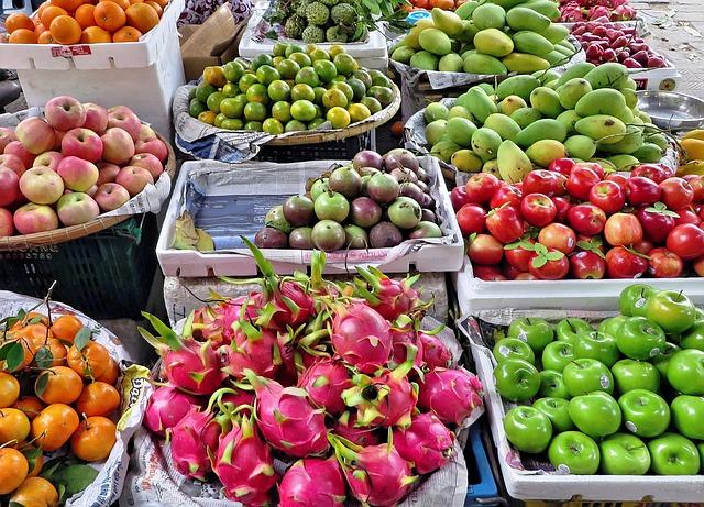 Marché de fruits à Hanoi au Vietnam (Asie)