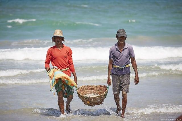 Village de pêcheurs au Sri Lanka (Ceylan) en Asie